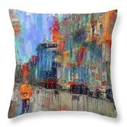 Walking Down Street In Color Splash Throw Pillow