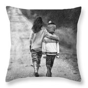 Walking Down The Road Throw Pillow
