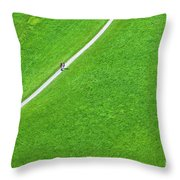 Walking Footpath In A Green Field Throw Pillow