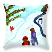 Walking Home From School Throw Pillow