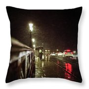 Walking Home In The Rain Throw Pillow