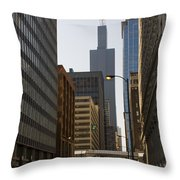 Walking In Chicago Throw Pillow
