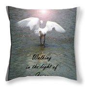 Walking In The Light Of Jesus Throw Pillow