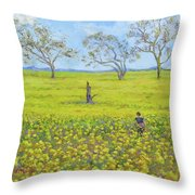 Walking In The Mustard Field Throw Pillow