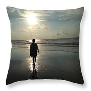 Walking Into The Sunrise Throw Pillow