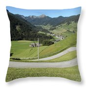 Walking Near Niederdorf In The Dolomites Throw Pillow