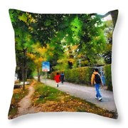 Walking On A Beautiful Path Throw Pillow