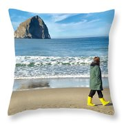 Walking On The Beach Throw Pillow