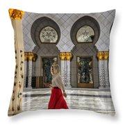 Walking Temple Throw Pillow