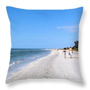 Walking The Beach At Sanibel. Throw Pillow