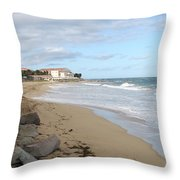 Walking The Beach In St Kitts Throw Pillow