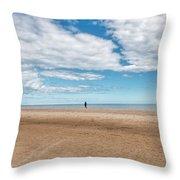 Walking The Dog On The Beach Throw Pillow