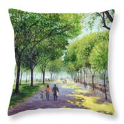 Walking The Mall Throw Pillow