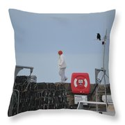 Walking The Pier Wall Throw Pillow