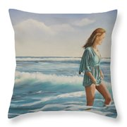 Walking The Surf Throw Pillow