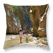 Walking Through The Gorge Of Saklikent Throw Pillow