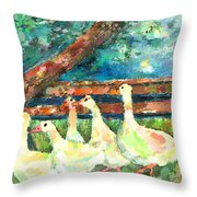 Walking Through The Grass Throw Pillow