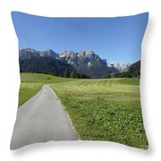 Walking To Niederdorf In The Dolomites Throw Pillow