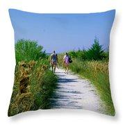 Walking To The Beach Throw Pillow
