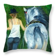 Walking To The Stable Throw Pillow
