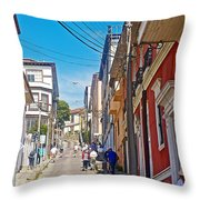 Walking Up Steep Streets In Hilly Valparaiso-chile Throw Pillow