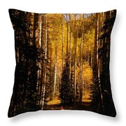 Walking With Aspens Throw Pillow