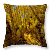 Walking With Autumn Throw Pillow