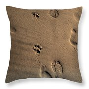 Walking With My Dog Throw Pillow