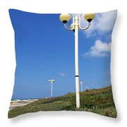 walkway along the Tel Aviv beach Throw Pillow