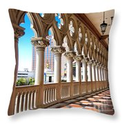 Walkway At The Venetian Hotel Throw Pillow