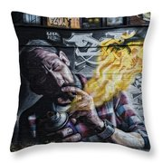 Wall In Fire Throw Pillow