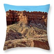 Wall Of Goblins Along  Carmel Canyon Trail In Goblin Valley State Park, Utah   Throw Pillow
