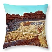 Wall Of Goblins In Carmel Canyon Trail In Goblin Valley State Park, Utah Throw Pillow