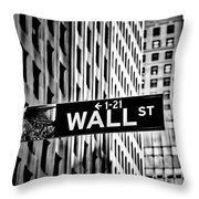 Wall St Sign New York In Black And White Throw Pillow