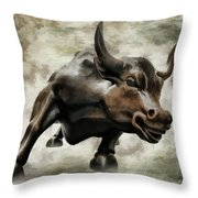 Wall Street Bull Viii Throw Pillow