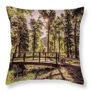 Wallowa Lake Foot Bridge Throw Pillow
