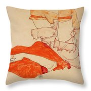 Wally In Red Blouse With Raised Knees Throw Pillow