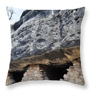 Walnut Canyon National Monument Cliff Dwellings Throw Pillow