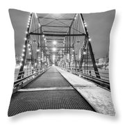 Walnut St. Bridge At Night Throw Pillow