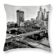 Walnut Street City View In Black And White Throw Pillow