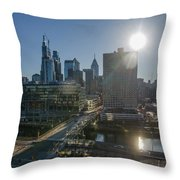 Walnut Street Sunrise From University City Throw Pillow