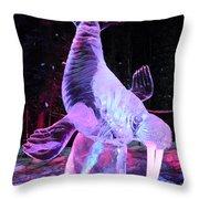 Walrus Ice Art Sculpture - Alaska Throw Pillow