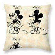 Walt Disney Mickey Mouse Patent 1929 - Vintage Throw Pillow