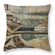 Walter  E  Schofield 1867-1944 Dock With Shed Throw Pillow