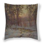 Walter Launt Palmer 1854-1932 Winter Stream At Sunset Throw Pillow