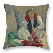 Walter Ufer 1876-1936 Stringing Chili Peppers Throw Pillow