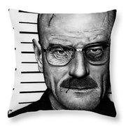 Walter White Mug Shot Throw Pillow