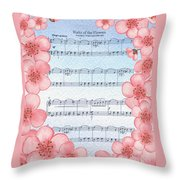 Waltz Of The Flowers Dancing Pink Throw Pillow