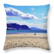Wandering On The Beach Under The Clouds Throw Pillow