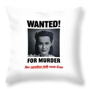 Housewife Wanted For Murder - Ww2 Throw Pillow